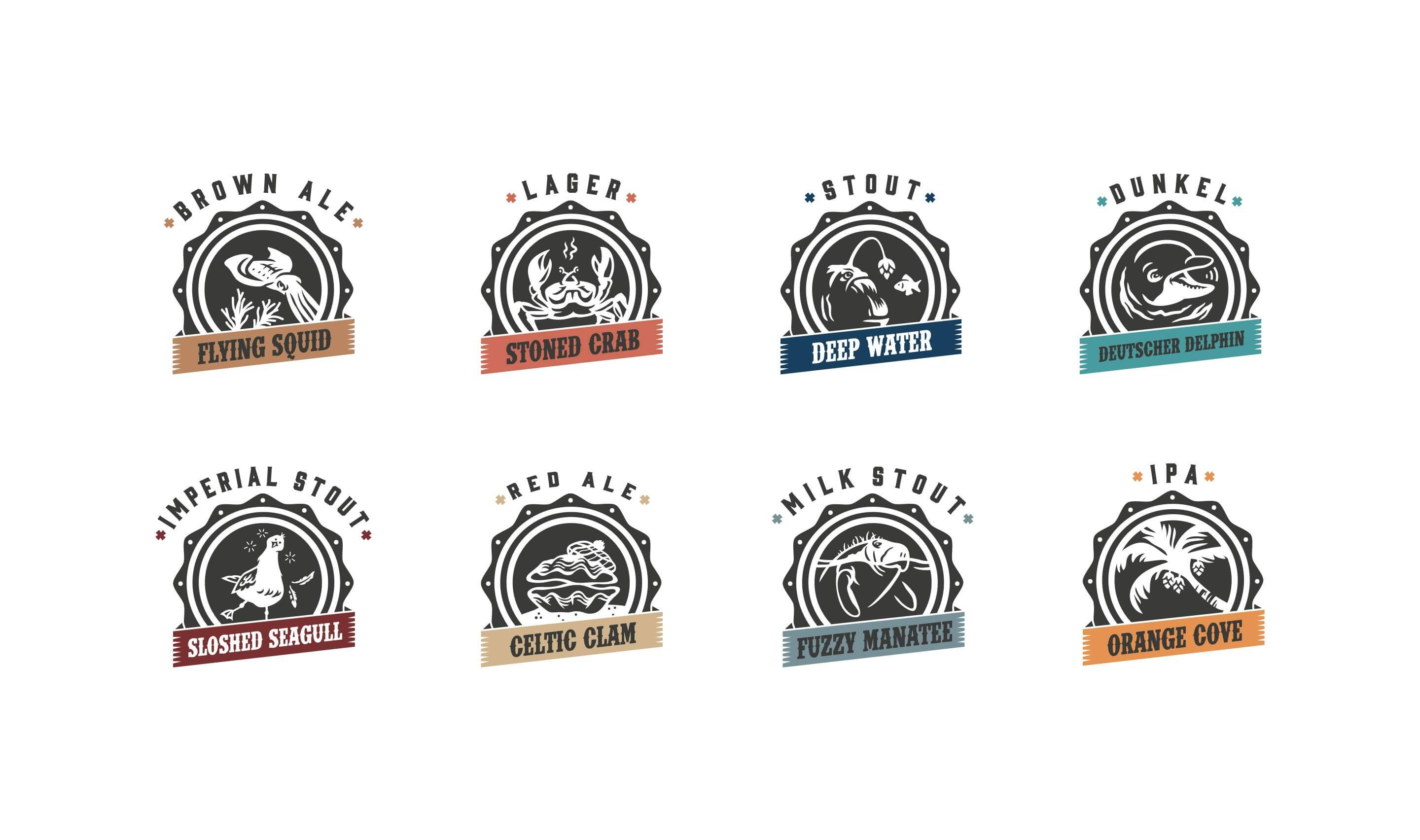 Magic waters beer logo illustration set